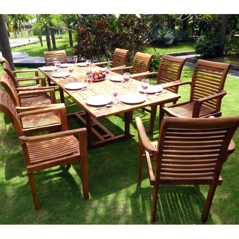 Salon de jardin - grande table et fauteuils en teck huilé ...