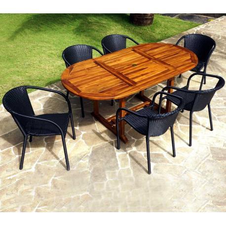Ensemble table bali 180cm et 6 fauteuils Bora en résine