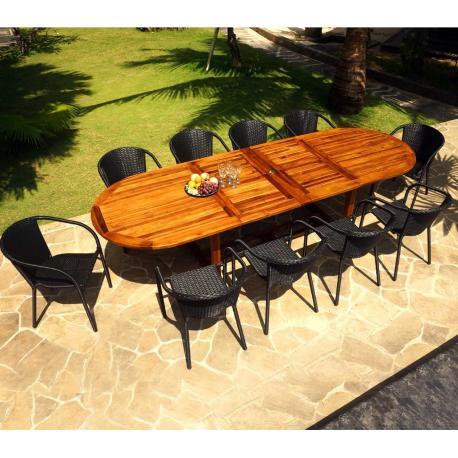Ensemble de jardin Sumatra-Bora avec table à rallonge 3 mètres