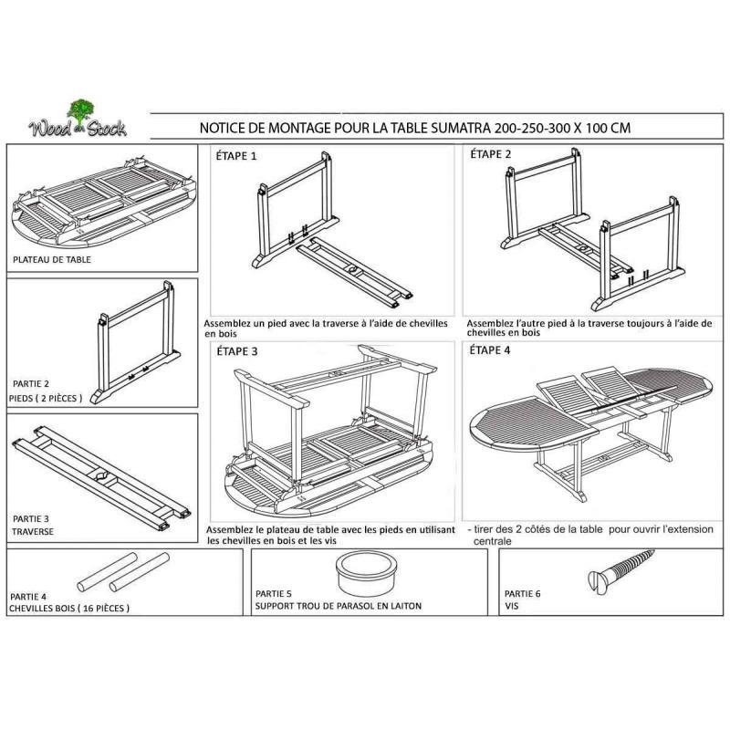 Ensemble de jardin Sumatra-Bora avec table à rallonge 3 ...