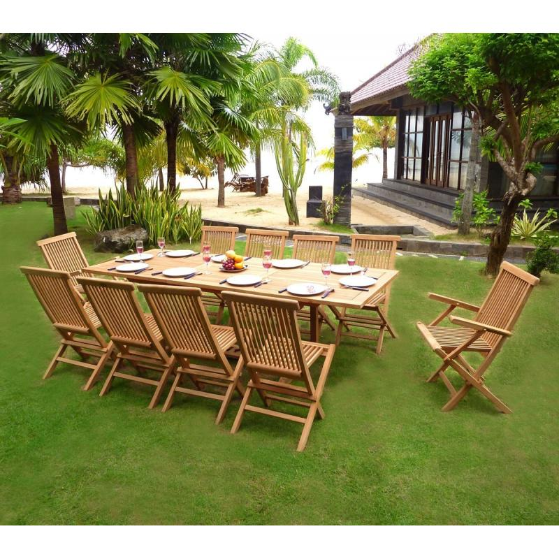 mobilier en teck naturel salon de jardin en teck 10 personnes table rectangulaire. Black Bedroom Furniture Sets. Home Design Ideas