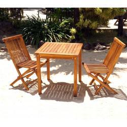 Table et chaises de jardin en teck huilé salon 2 places