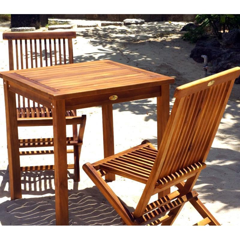 Table et chaises de jardin en teck huilé salon 2 places - wood-en-stock