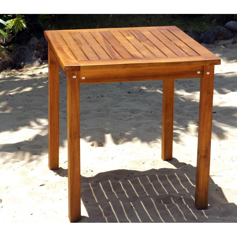Table de jardin en teck huilé - carrée 70 cm - wood-en-stock