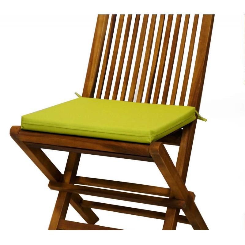 Coussin vert lime en toile pour chaises et fauteuils pliants en teck wood en stock - Coussin pour chaise en teck ...