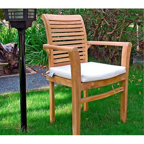 coussin blanc en toile pour fauteuils Raja en teck