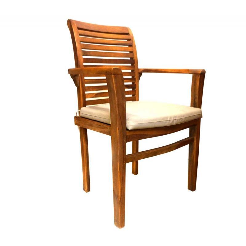 coussin blanc en toile pour fauteuils raja en teck wood. Black Bedroom Furniture Sets. Home Design Ideas