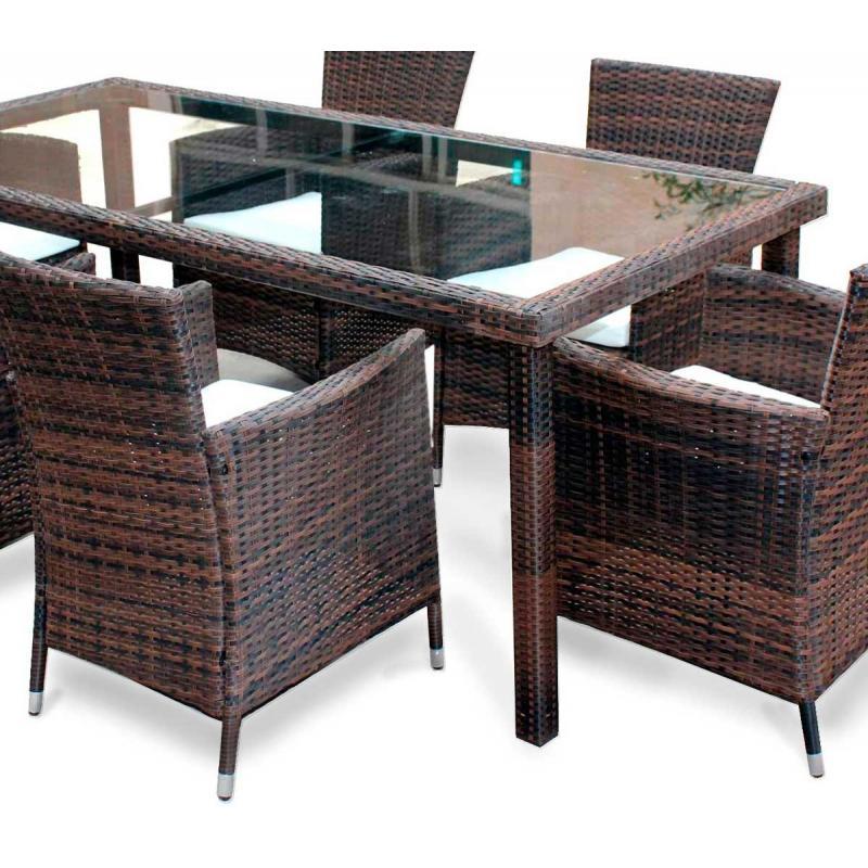 Table de jardin 192 cm en résine tressée marron - wood-en-stock