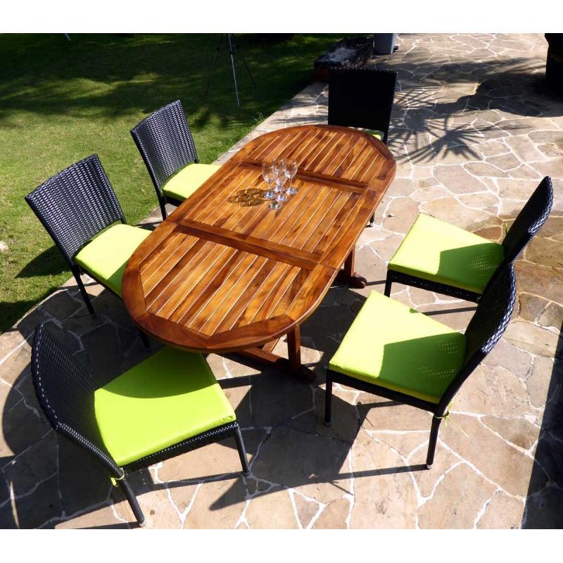 Salon de jardin en teck Bali + 6 chaises en résine tressée ...
