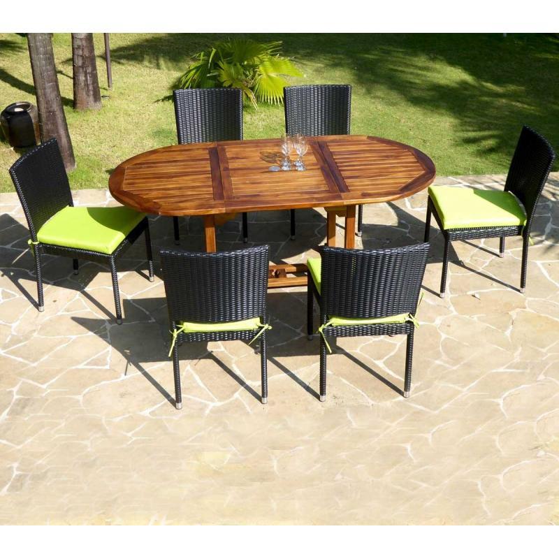 Salon de jardin en teck Bali + 6 chaises en résine tressée noire ...