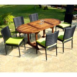Salon de jardin en teck Bali + 6 chaises en résine tressée noire avec coussins