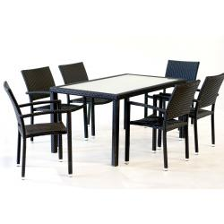 Salon de jardin en résine tressée rectangulaire x6 fauteuils
