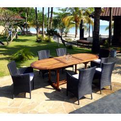 ensemble de jardin table en teck Java + 6 fauteuils Sydney en résine noire