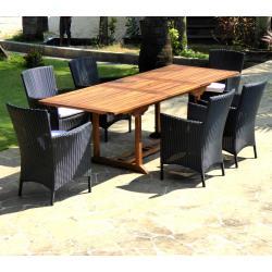 Table de jardin en teck Flores avec 6 fauteuils Sydney en résine
