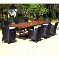 grand salon en teck et résine tressée 8-10 places Bornéo