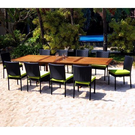 Salon en teck Bornéo 10-12 places chaises en résine avec coussins