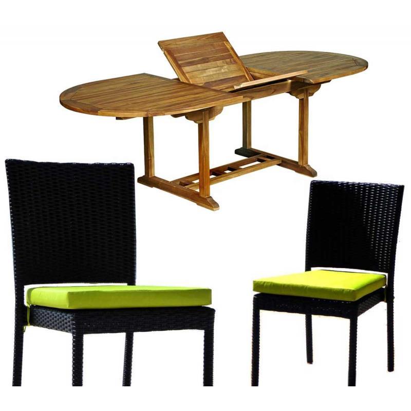 Salon de jardin en teck Java avec chaises en résine tressée noire + ...