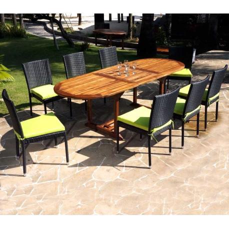 Salon de jardin en teck Java avec chaises en résine tressée noire + coussins
