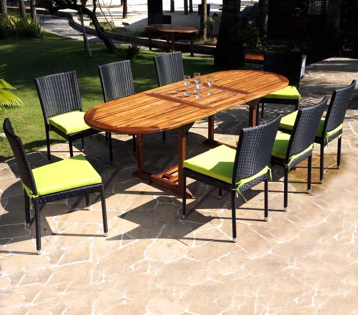 Détails sur ensemble de jardin table en teck et chaises en résine tressée -  8 places