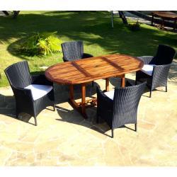 Salon de jardin en teck Bali + 4 fauteuils en résine tressée noire avec coussins