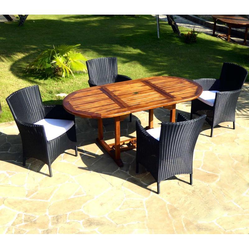Salon de jardin en teck Bali + 4 fauteuils en résine tressée noire ...