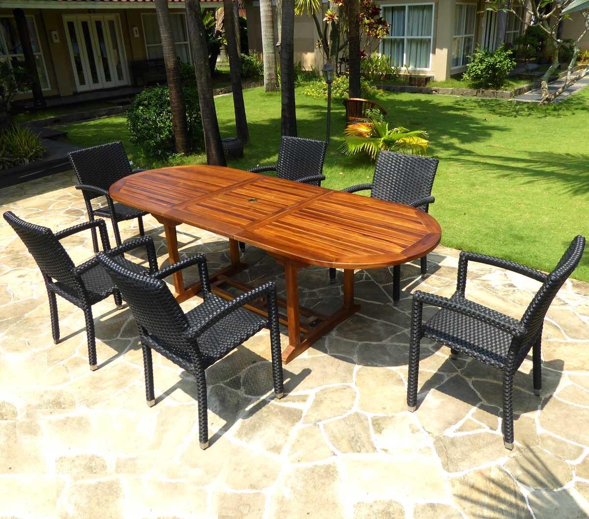 Détails sur salon de jardin en teck huilé table 240 cm 6 fauteuils résine  noire