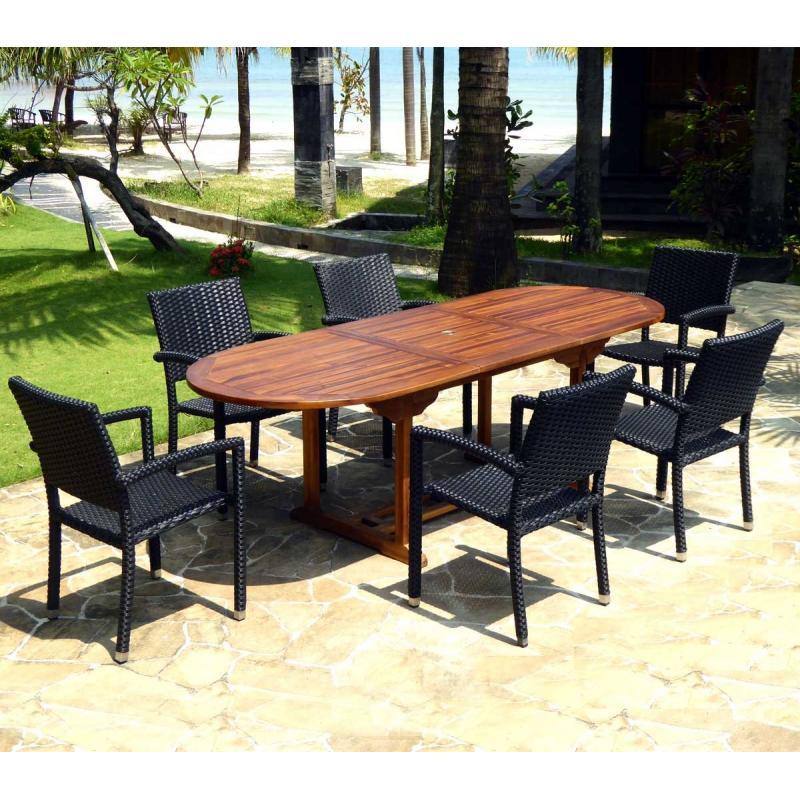 Salon de jardin en teck Java avec 6 fauteuils en résine ...