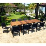 Salon de jardin en teck Bornéo 10 fauteuils empilables résine tressée
