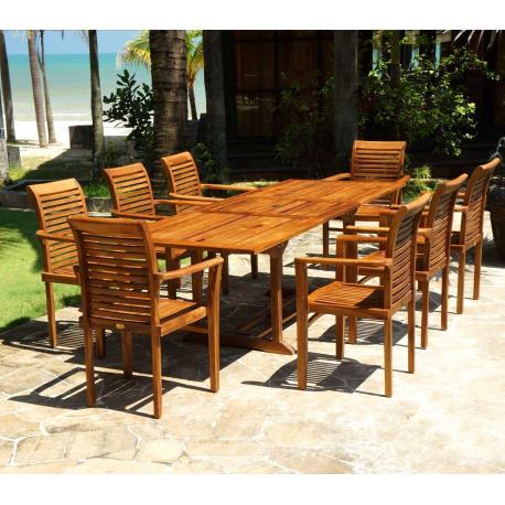 Salon de jardin en teck huilé table Flores + 8 fauteuils Raja