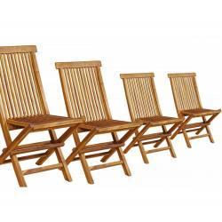 Lot de 4 chaises de jardin en teck huilé : Kuta