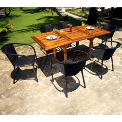Ensemble table en teck Lombok et fauteuils résine Bora