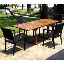 Salon de jardin en teck Java avec 6 fauteuils en résine tressée noire