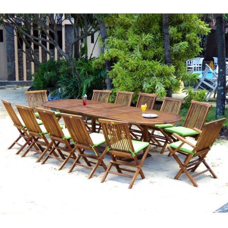 Salon de jardin 12 places Sumatra Kuta en teck huilé et livré avec ...