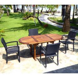 Salon de jardin en teck Bali + 4 fauteuils Palma en résine tressée
