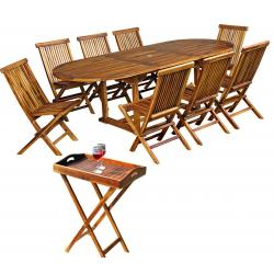 ensemble de jardin en teck 8 chaises + plateau table 180-240 cm