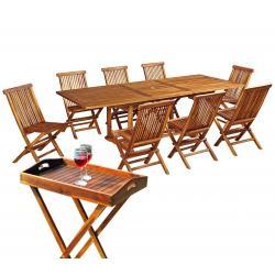salon en teck de jardin 8 chaises + plateau table Flores