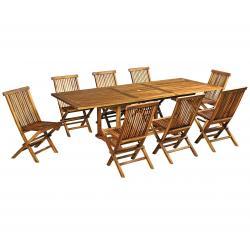 salon en teck de jardin 8 chaises Kuta et table Flores 180-240 cm