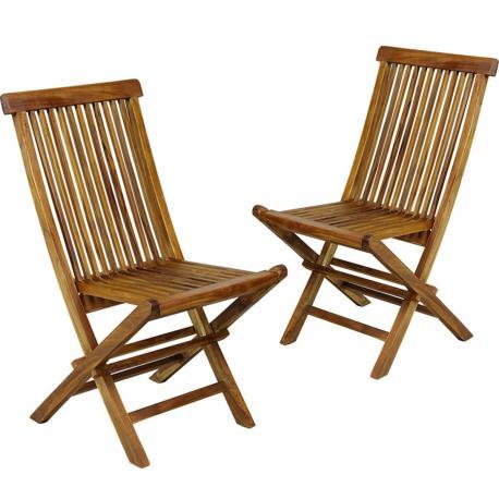 Lot de 2 Chaises de jardin pliantes kuta en teck huilé