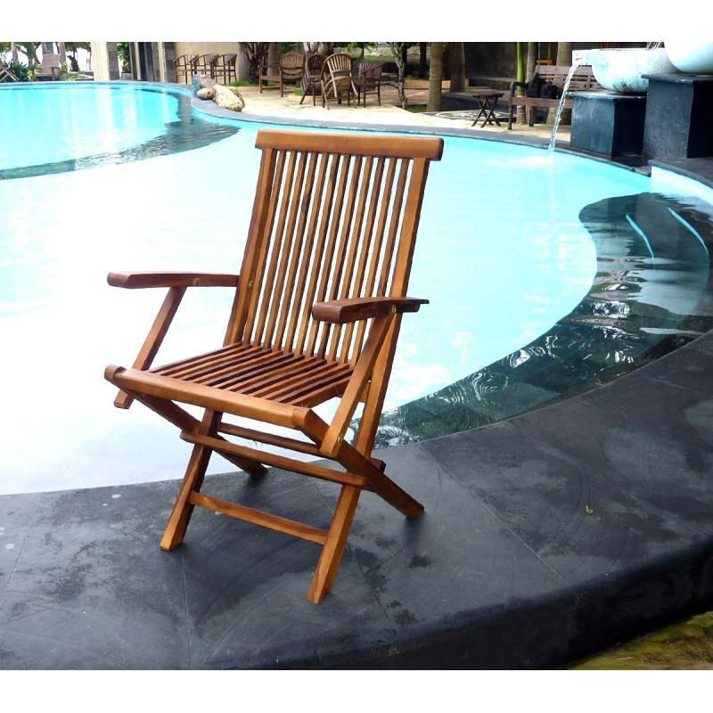 Lot de 4 fauteuils peigne kuta en teck huil et pliants ranger facilement for Fauteuil de jardin en teck