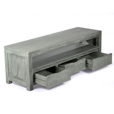 meuble TV en teck brut 145 cm x 60 x 45 cm - Abey