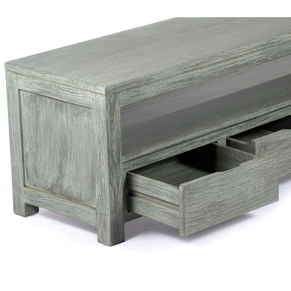 meuble tv design et contemporain en teck massif 145 cm x 45 x 50 cm abey. Black Bedroom Furniture Sets. Home Design Ideas