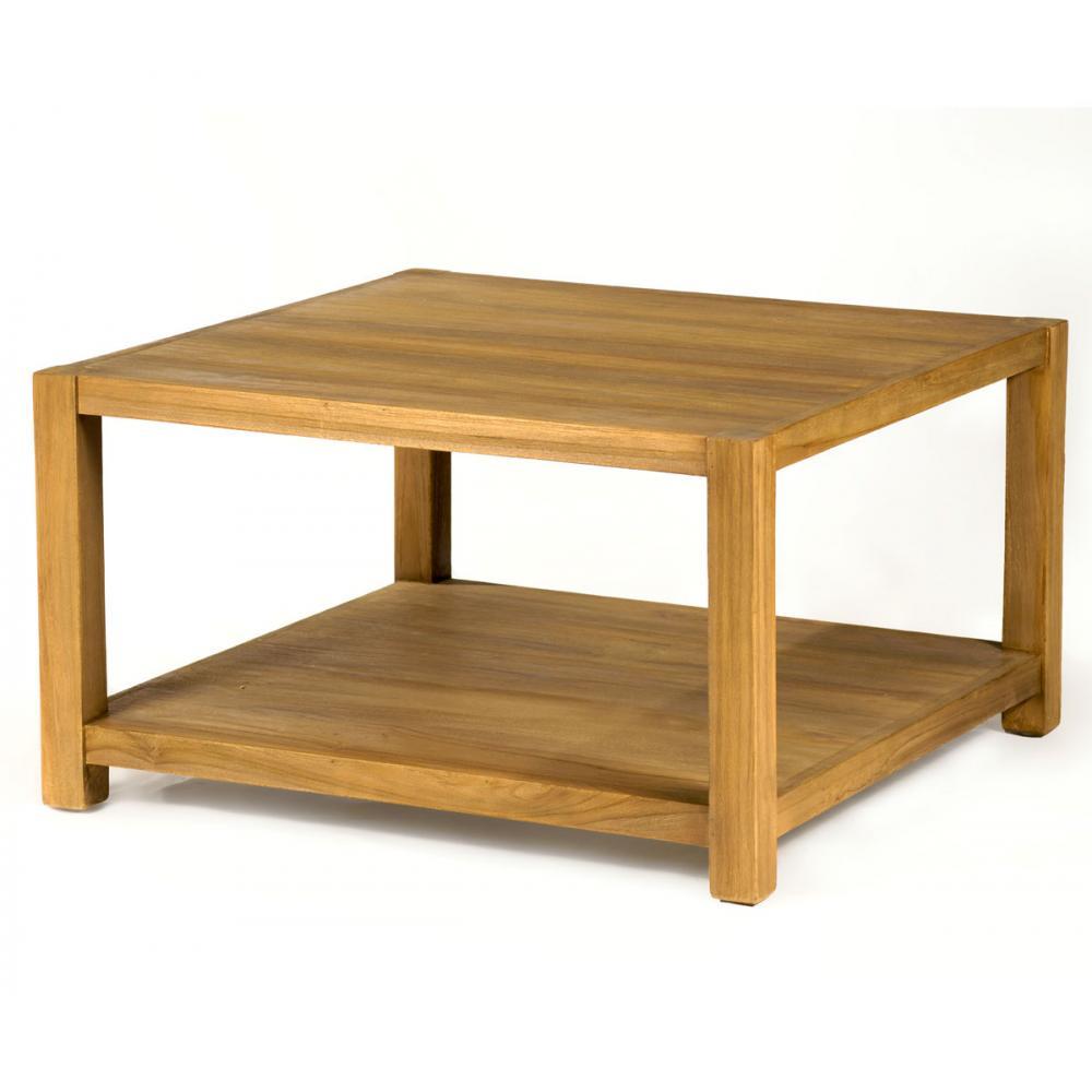 Table basse carrée en teck 80x80 modèle Himala sobre et contemporaine
