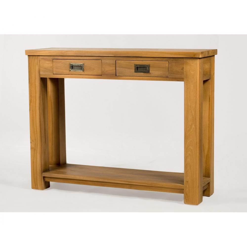console ushi longueur 100cm avec 2 tiroirs en teck brut et naturel. Black Bedroom Furniture Sets. Home Design Ideas