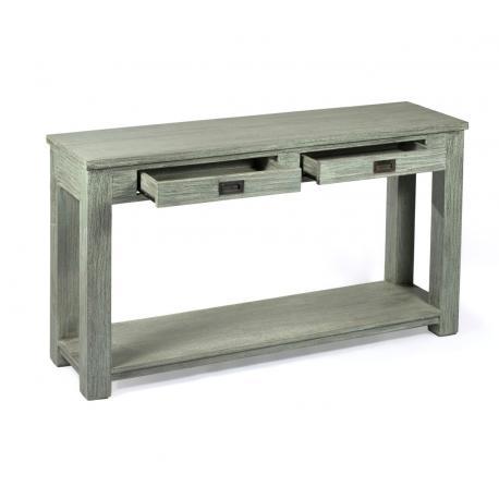 console en teck brut 140 cm avec 2 tiroirs - Ushi