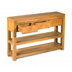 console en teck massif 120 cm 3 tiroirs - Enola