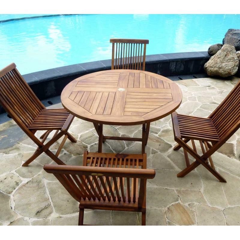 Table de jardin en teck avec chaises en teck sunrise