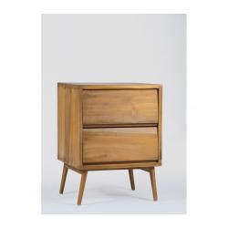table de chevet en teck de 45 cm, bout de canapé à double tiroirs Aliah