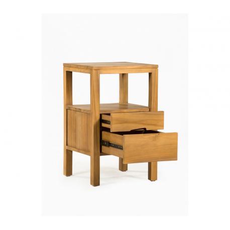 table de chevet en teck de 45 cm, bout de canapé à double tiroirs