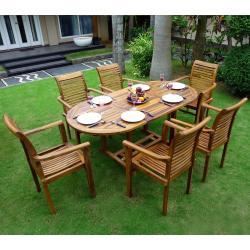 """Salon de jardin en Teck 6-8 places ovale huilé """"Bali Raja"""""""