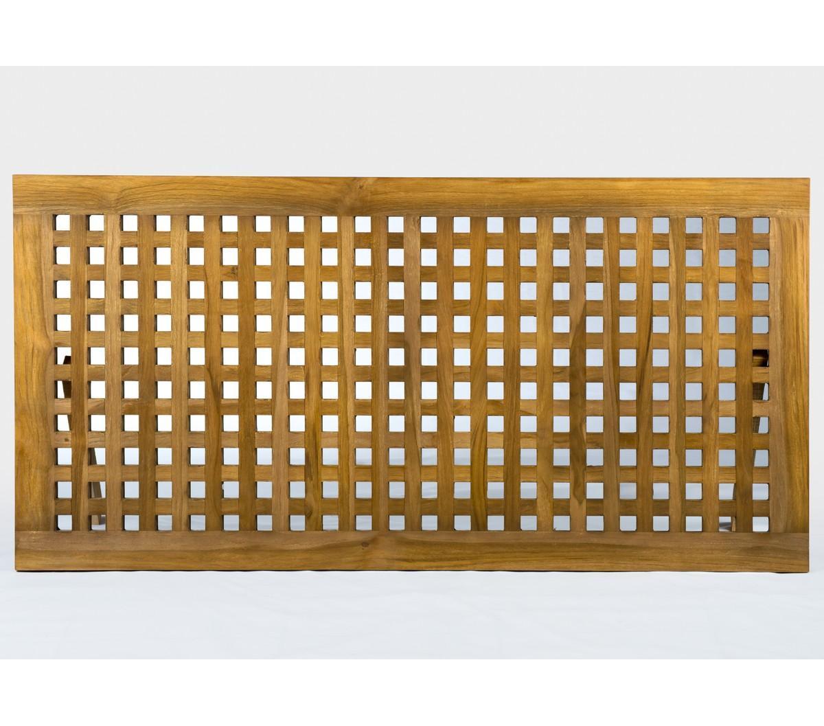 caillebotis pour salle de bain en teck finition rustique INOS 16 X 16 cm